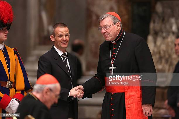 Archbishop of Sydney Cardinal George Pell attends a meeting of prayer at St Peter's Basilica on March 6 2013 in Vatican City Vatican The startdate of...