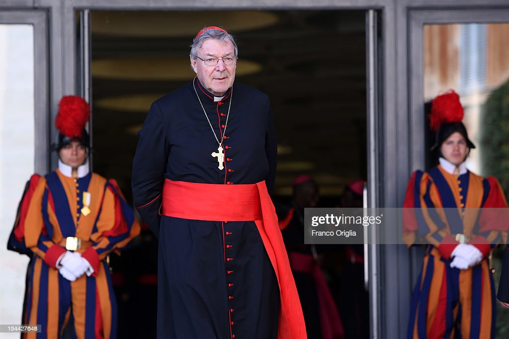 Archbishop of Sydney Cardinal <a gi-track='captionPersonalityLinkClicked' href=/galleries/search?phrase=George+Pell&family=editorial&specificpeople=695294 ng-click='$event.stopPropagation()'>George Pell</a> attends the Synod of Bishops for The New Evangelization for the Transmission of the Christian Faith at the Synod hall on October 19, 2012 in Vatican City, Vatican. The Synod of Bishops was established by Pope Paul Vl in 1965 after The Second Vatican Council to advise the Pope in growing the faith throughout the world.