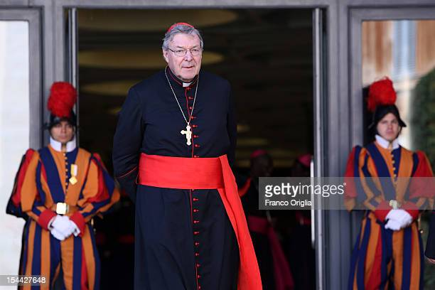 Archbishop of Sydney Cardinal George Pell attends the Synod of Bishops for The New Evangelization for the Transmission of the Christian Faith at the...