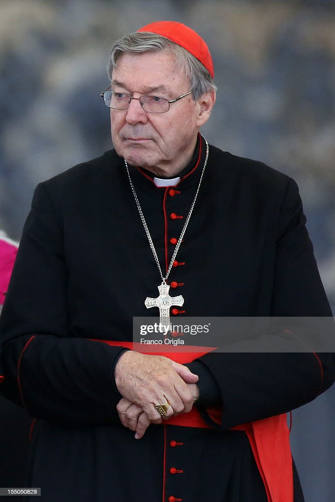 Archbishop of Sydney cardinal <a gi-track='captionPersonalityLinkClicked' href=/galleries/search?phrase=George+Pell&family=editorial&specificpeople=695294 ng-click='$event.stopPropagation()'>George Pell</a> attends the weekly audience held by Pope Benedict XVI in St. Peter's square on October 31, 2012 in Vatican City, Vatican. Pope Benedict XVI has announced that he will create six new cardinals during a concistory scheduled to take place on November 24. Included among the cardinals, who will be chosen from six different countries, will be 63-year-old U.S. Archbishop James M. Harvey, prefect of the papal household.