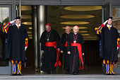 Archbishop of Vienna cardinal Christoph Schonborn and Archbishop of New York Cardinal Timothy Dolan leave the Synod Hall at the end of the...