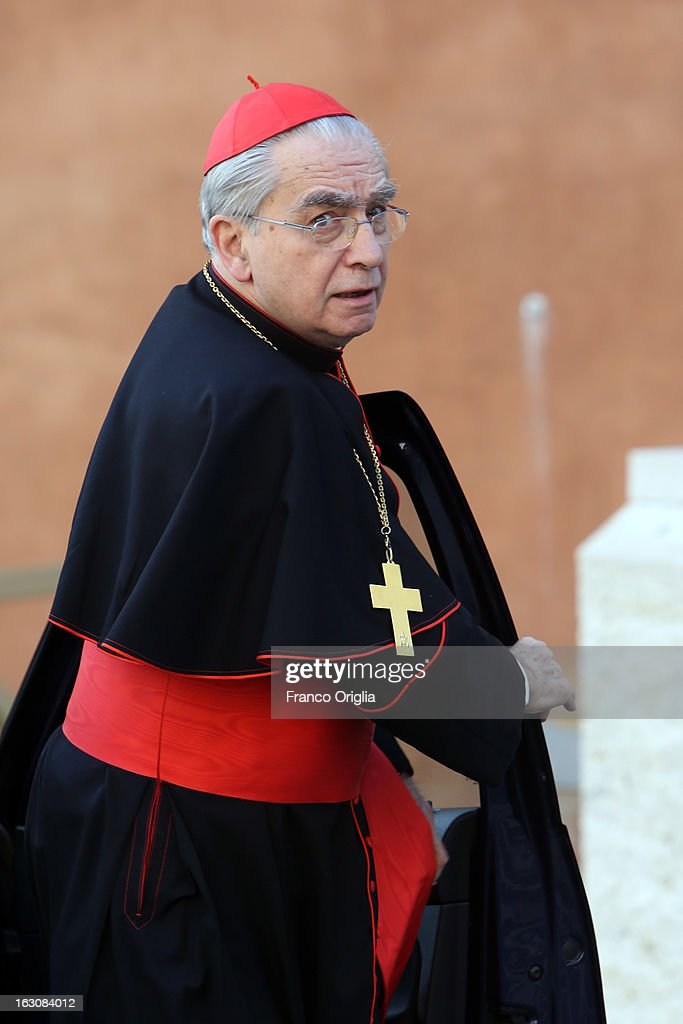Archbishop of Vilnius cardinal Audrys Juozas Backis arrives at the Paul VI hall for the opening of the Cardinals' Congregations on March 4, 2013 in Vatican City, Vatican.The congregations of cardinals will continue until all cardinal electors have arrived in Rome, whereupon the College will decide on the start-date of the Conclave to elect a new Pope.