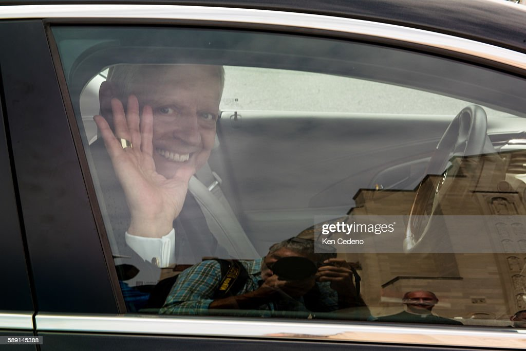 Archbishop of Washington Cardinal Donald W Wuerl waves from his car as he leaves the Basilica of the National Shrine of the Immaculate Conception at...