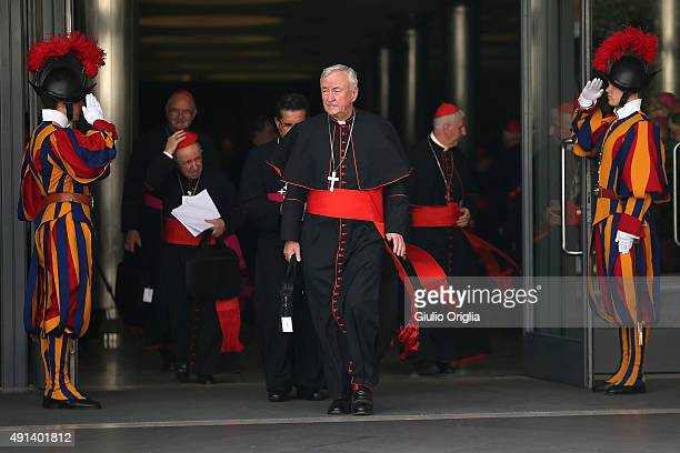 Archbishop of Westminster Cardinal Vincent Nichols leaves the opening session of the Synod on the themes of family at Synod Hall on October 5 2015 in...