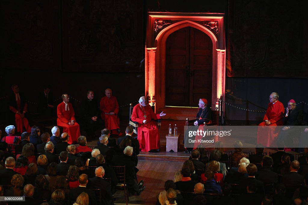 Archbishop of Westminster, Cardinal <a gi-track='captionPersonalityLinkClicked' href=/galleries/search?phrase=Vincent+Nichols&family=editorial&specificpeople=5863620 ng-click='$event.stopPropagation()'>Vincent Nichols</a>, the head of the Roman Catholic Church in England and Wales and Bishop of London, Rt Revd Dr <a gi-track='captionPersonalityLinkClicked' href=/galleries/search?phrase=Richard+Chartres&family=editorial&specificpeople=652066 ng-click='$event.stopPropagation()'>Richard Chartres</a> take part in a 'Conversation on Faith and the Crown' inside the Great Court ahead of a service at the Hampton Court Palace Chapel on February 9, 2016 in London, England. This evening Henry VIII's Chapel at Hampton Court will host the first Catholic service to be held there in over 450 years. The service will be led by Archbishop of Westminster, Cardinal <a gi-track='captionPersonalityLinkClicked' href=/galleries/search?phrase=Vincent+Nichols&family=editorial&specificpeople=5863620 ng-click='$event.stopPropagation()'>Vincent Nichols</a>, the head of the Roman Catholic Church in England and Wales and attended by Bishop of London, Rt Revd Dr <a gi-track='captionPersonalityLinkClicked' href=/galleries/search?phrase=Richard+Chartres&family=editorial&specificpeople=652066 ng-click='$event.stopPropagation()'>Richard Chartres</a> who will deliver the sermon. Renowned ensemble The Sixteen will perform works from the Reformation period during the service. at Hampton Court Palace on February 9, 2016 in London, England. This evening Henry VIII's Chapel at Hampton Court will host the first Catholic service to be held there in over 450 years. The service will be led by Archbishop of Westminster, Cardinal <a gi-track='captionPersonalityLinkClicked' href=/galleries/search?phrase=Vincent+Nichols&family=editorial&specificpeople=5863620 ng-click='$event.stopPropagation()'>Vincent Nichols</a>, the head of the Roman Catholic Church in England and Wales and attended by Bishop of London, Rt Revd Dr <a gi-track='captionPersonalityLinkClicked' href=/galleries/search?phrase=Richard+Chartres&family=editorial&specificpeople=652066 ng-click='$event.stopPropagation()'>Richard Chartres</a> who will deliver the sermon. Renowned ensemble The Sixteen will perform works from the Reformation period during the service.