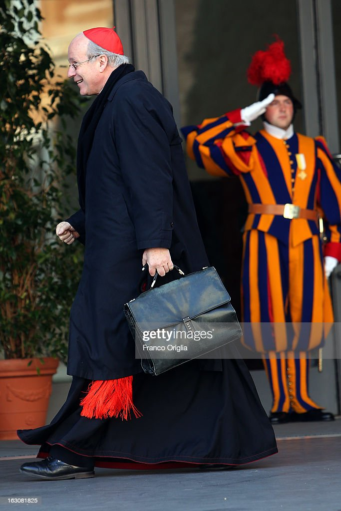 Archbishop of Wien cardinal Christoph Schonborn arrives at the Paul VI hall for the opening of the Cardinals' Congregations on March 4, 2013 in Vatican City, Vatican.The congregations of cardinals will continue until all cardinal electors have arrived in Rome, whereupon the College will decide on the start-date of the Conclave to elect a new Pope.