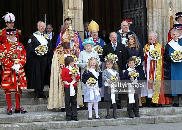 Archbishop of York John Sentamu Queen Elizabeth II Prince Philip Duke of Edinburgh and Princess Beatrice pose on the steps of York Minster after a...
