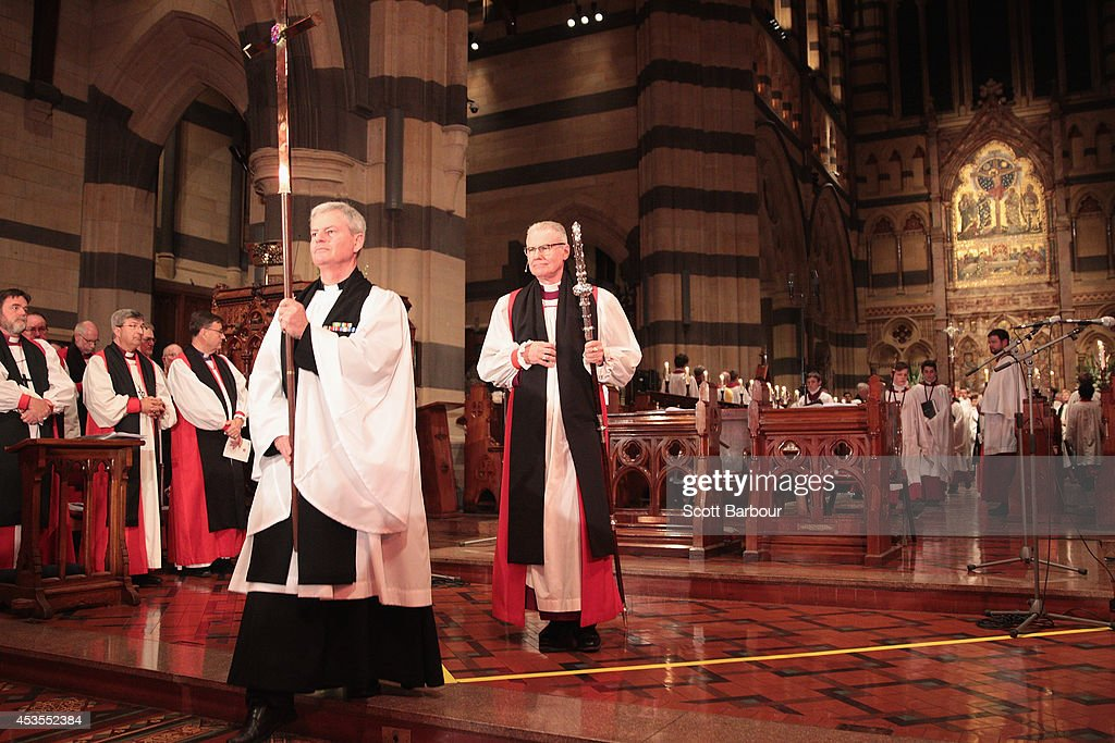 Archbishop Philip Freier leaves after the inauguration service of Melbourne Archbishop Philip Freier at St Paul's Cathedral on August 13 2014 in...