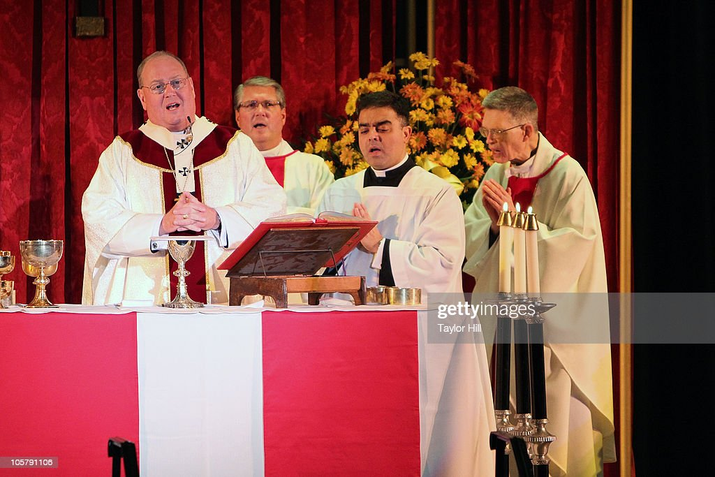 Archbishop Timothy M Dolan attends the Regis Philbin Cardinal Hayes High School Auditorium Dedication at Cardinal Hayes High School on October 20...