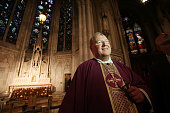 Archbishop Timothy M Dolan looks on with ashes on his forehead after Ash Wednesday services at Saint Patrick's Cathedral on March 9 2011 in New York...