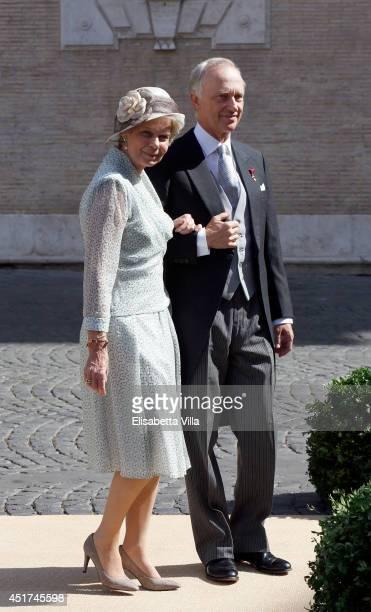 Archduchess Marie Astrid of Austria and Archduke Christian of Austria attend the wedding of Prince Amedeo Of Belgium and Elisabetta Maria Rosboch Von...