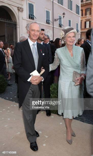 Archduke Christian and Archduchess Marie Astrid of Austria attend the wedding of Prince Amedeo Of Belgium and Elisabetta Maria Rosboch Von...