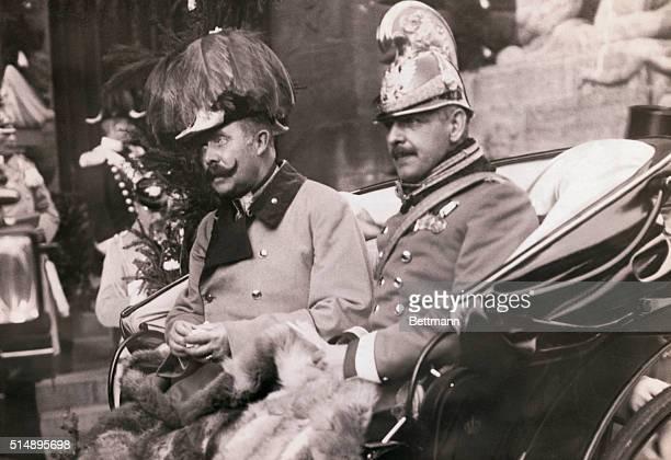 Archduke Franz Ferdinand heir to the Austrian throne riding in a carriage in Leipzig Germany