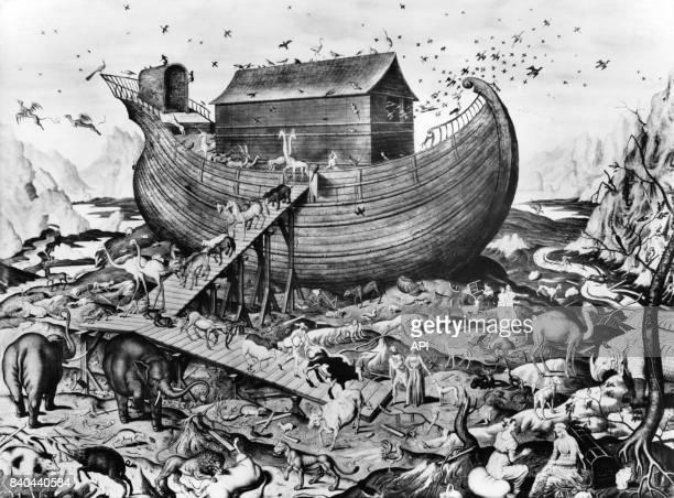 L'arche de Noé sur le mont Ararat gravure de Simon de Mailly réalisée vers 1535