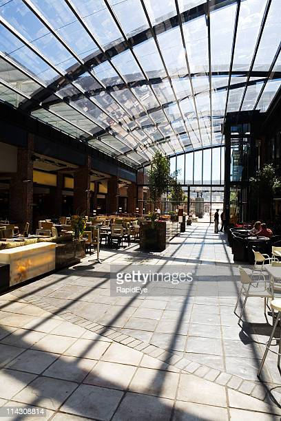 Arched glass roof mall restaurants