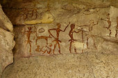 Archeological pre-historic human clift paint over 4000 years ago, Nakhonratchasima, Thailand.