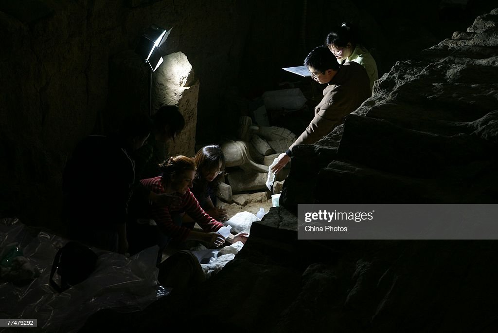 Archeologist work on the excavation of ancient terracotta warriors in the No2 pit of the Qin Terracotta Warriors and Horses Museum on October 24 2007...