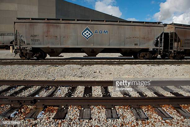ArcherDanielsMidland Co signage is displayed on a rail car outside of the Decatur Corn Plant in Decatur Illinois US on Tuesday Nov 12 2013...