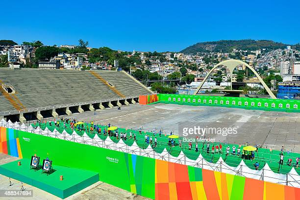 Archers practice during the first day of the Archery test event for the Rio 2016 Olympic Games at Sapucai Sambodrome on September 15 2015 in Rio de...