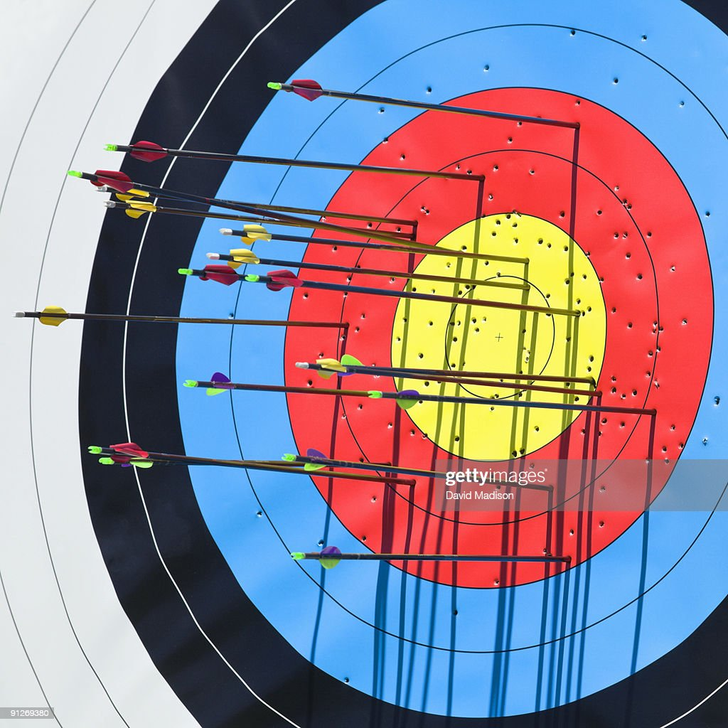 Archery arrows in target