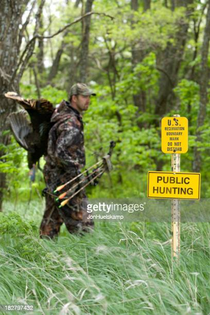 Archery hunter on public hunting land