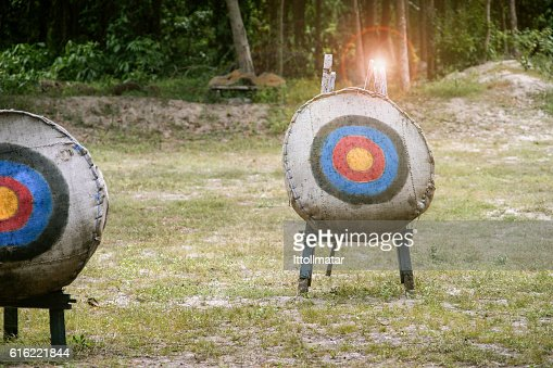 Archery target on the field,light and flare effect added : Stock Photo