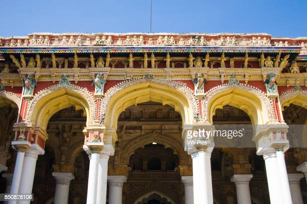 Arches and columns Thirumalai Nayak Palace Madurai Tamil Nadu India