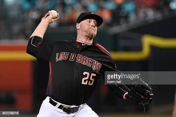 Archie Bradley of the Arizona Diamondbacks delivers a first inning pitch against the San Francisco Giants at Chase Field on September 10 2016 in...