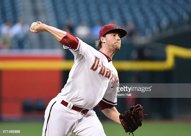 Archie Bradley of the Arizona Diamondbacks delivers a firstinning pitch against the Colorado Rockies at Chase Field on April 28 2015 in Phoenix...