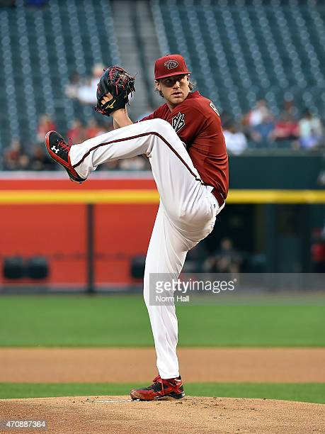 Archie Bradley of the Arizona Diamondbacks delivers a pitch against the Texas Rangers at Chase Field on April 22 2015 in Phoenix Arizona