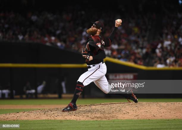 Archie Bradley of the Arizona Diamondbacks delivers a pitch against the Philadelphia Phillies at Chase Field on June 24 2017 in Phoenix Arizona