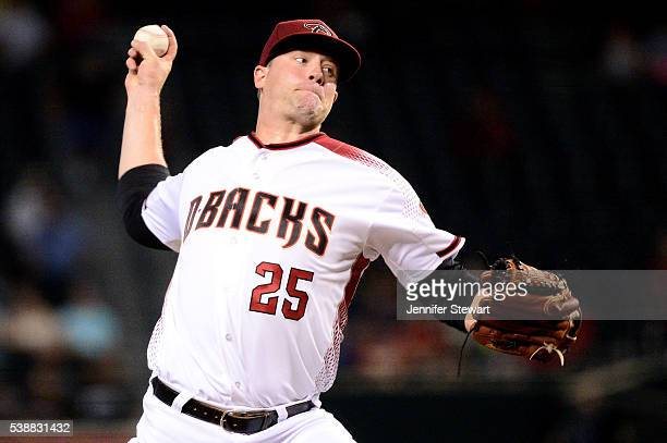 Archie Bradley of the Arizona Diamondbacks delivers a pitch in the first inning against the Tampa Bay Rays at Chase Field on June 8 2016 in Phoenix...