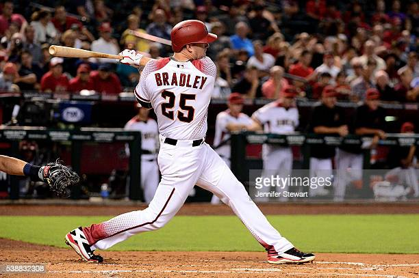 Archie Bradley of the Arizona Diamondbacks hits an RBI single in the second inning against the Tampa Bay Rays at Chase Field on June 8 2016 in...