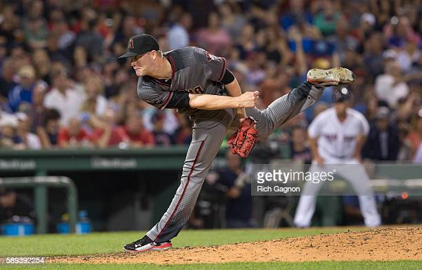 Archie Bradley of the Arizona Diamondbacks pitches against the Boston Red Sox during the fourth inning at Fenway Park on August 13 2016 in Boston...