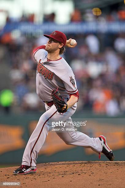 Archie Bradley of the Arizona Diamondbacks pitches against the San Francisco Giants during the first inning at ATT Park on April 16 2015 in San...