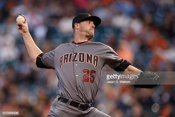 Archie Bradley of the Arizona Diamondbacks pitches against the San Francisco Giants during the first inning at ATT Park on April 18 2016 in San...