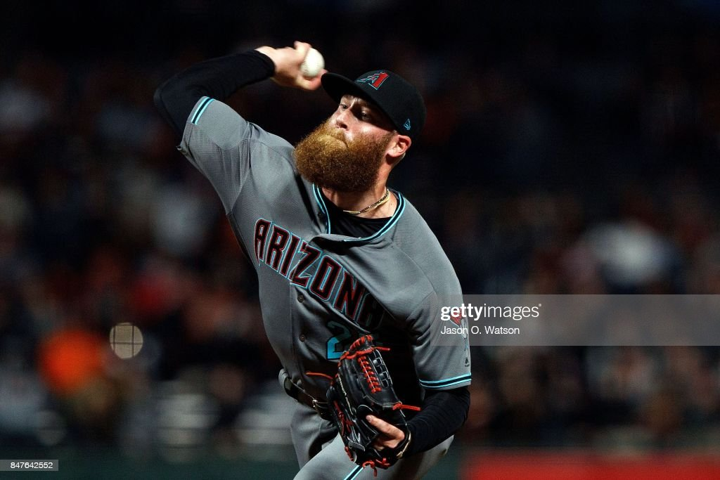 Archie Bradley #25 of the Arizona Diamondbacks pitches against the San Francisco Giants during the eighth inning at AT&T Park on September 15, 2017 in San Francisco, California. The Arizona Diamondbacks defeated the San Francisco Giants 3-2.