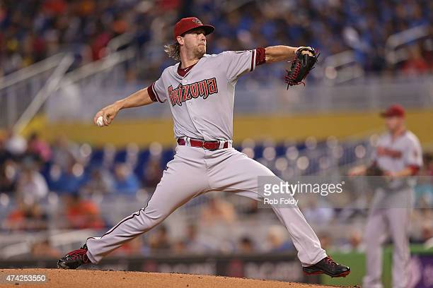 Archie Bradley of the Arizona Diamondbacks pitches during the first inning of the game at Marlins Park on May 21 2015 in Miami Florida