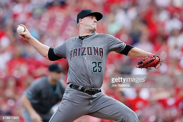 Archie Bradley of the Arizona Diamondbacks pitches in the first inning against the Cincinnati Reds at Great American Ball Park on July 22 2016 in...