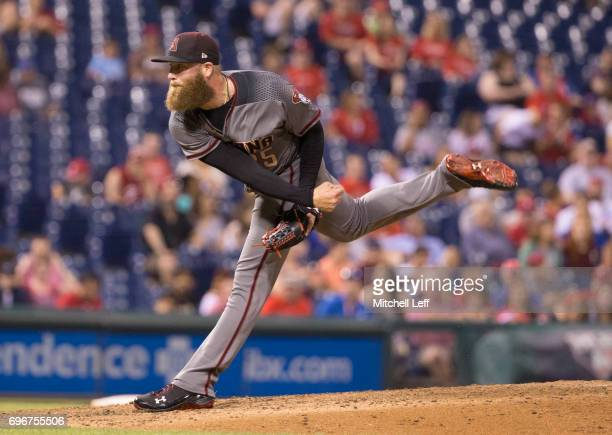 Archie Bradley of the Arizona Diamondbacks throws a pitch in the bottom of the seventh inning against the Philadelphia Phillies at Citizens Bank Park...