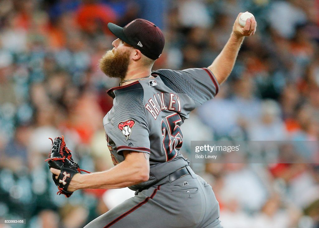 Archie Bradley #25 of the Arizona Diamondbacks throws in the ninth inning against the Houston Astros at Minute Maid Park on August 17, 2017 in Houston, Texas.