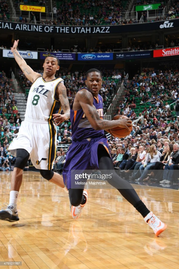 <a gi-track='captionPersonalityLinkClicked' href=/galleries/search?phrase=Archie+Goodwin&family=editorial&specificpeople=9086088 ng-click='$event.stopPropagation()'>Archie Goodwin</a> #20 of the Phoenix Suns drives against the Utah Jazz at EnergySolutions Arena on February 26, 2014 in Salt Lake City, Utah.