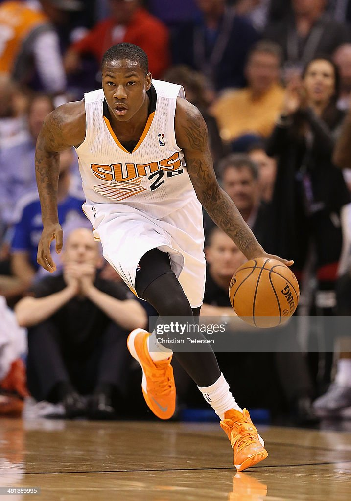 <a gi-track='captionPersonalityLinkClicked' href=/galleries/search?phrase=Archie+Goodwin&family=editorial&specificpeople=9086088 ng-click='$event.stopPropagation()'>Archie Goodwin</a> #20 of the Phoenix Suns handles the ball during the NBA game against the Los Angeles Lakers at US Airways Center on December 23, 2013 in Phoenix, Arizona.