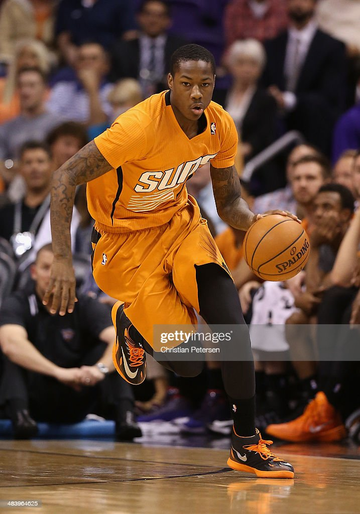 <a gi-track='captionPersonalityLinkClicked' href=/galleries/search?phrase=Archie+Goodwin&family=editorial&specificpeople=9086088 ng-click='$event.stopPropagation()'>Archie Goodwin</a> #20 of the Phoenix Suns handles the ball during the NBA game against the New York Knicks at US Airways Center on March 28, 2014 in Phoenix, Arizona. The Suns defeated the Knicks 112-88.