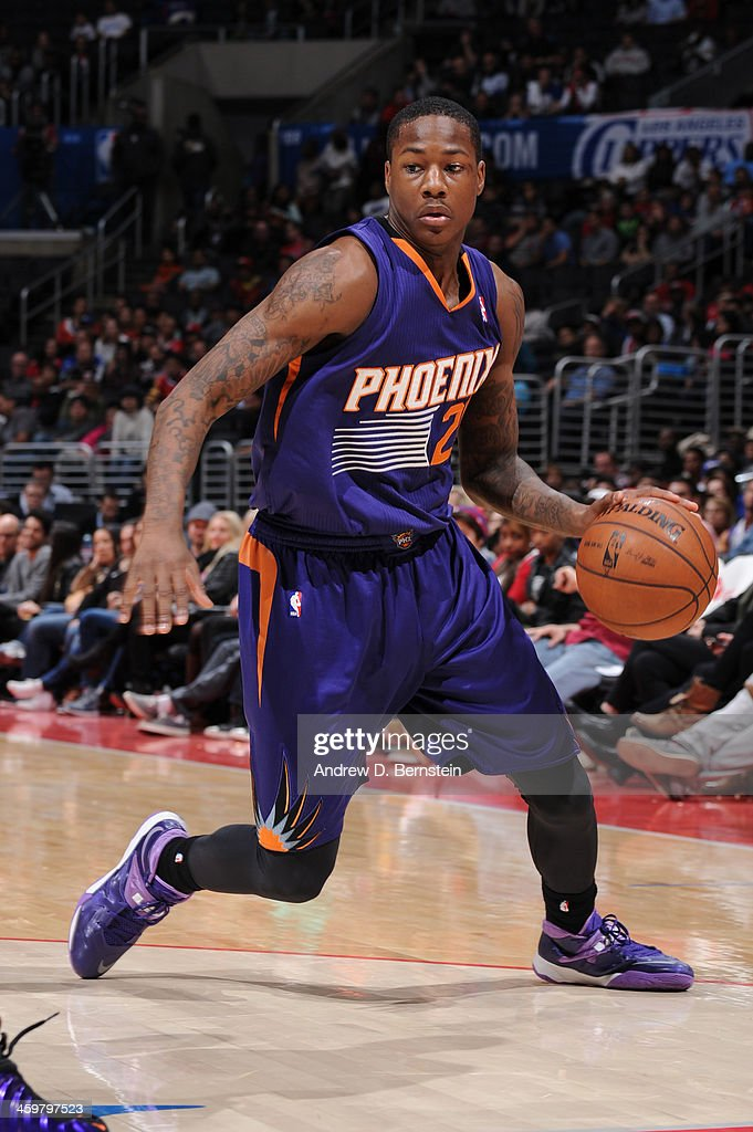<a gi-track='captionPersonalityLinkClicked' href=/galleries/search?phrase=Archie+Goodwin&family=editorial&specificpeople=9086088 ng-click='$event.stopPropagation()'>Archie Goodwin</a> #20 of the Phoenix Suns handles the basketball during a game against the Los Angeles Clippers at STAPLES Center on December 30, 2013 in Los Angeles, California.