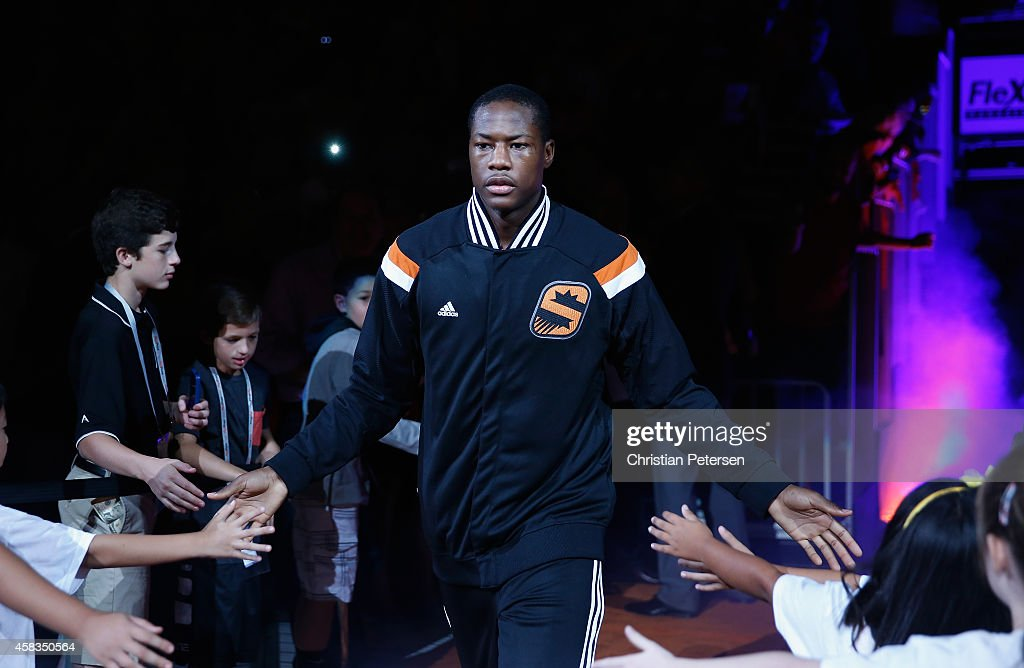 <a gi-track='captionPersonalityLinkClicked' href=/galleries/search?phrase=Archie+Goodwin&family=editorial&specificpeople=9086088 ng-click='$event.stopPropagation()'>Archie Goodwin</a> #20 of the Phoenix Suns is introduced before the NBA game against the Los Angeles Lakers at US Airways Center on October 29, 2014 in Phoenix, Arizona. The Suns defeated the Lakers 119-99.