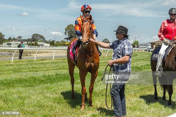 Archie Luxury ridden by Daniel Stackhouse returns after winning Latrobe City 3YO Maiden Plate at Traralgon Racecourse on October 29 2016 in Traralgon...