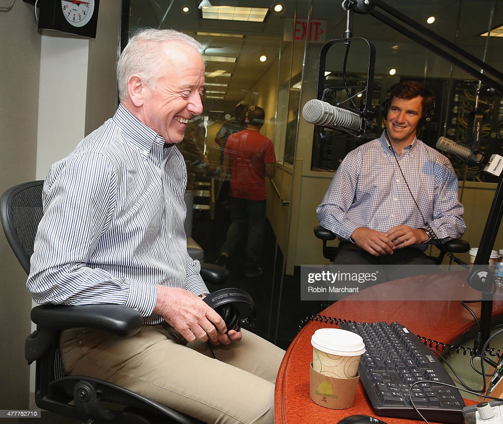 Archie Manning (L) and Eli Manning visit at SiriusXM Studios on June 19, 2015 in New York City.