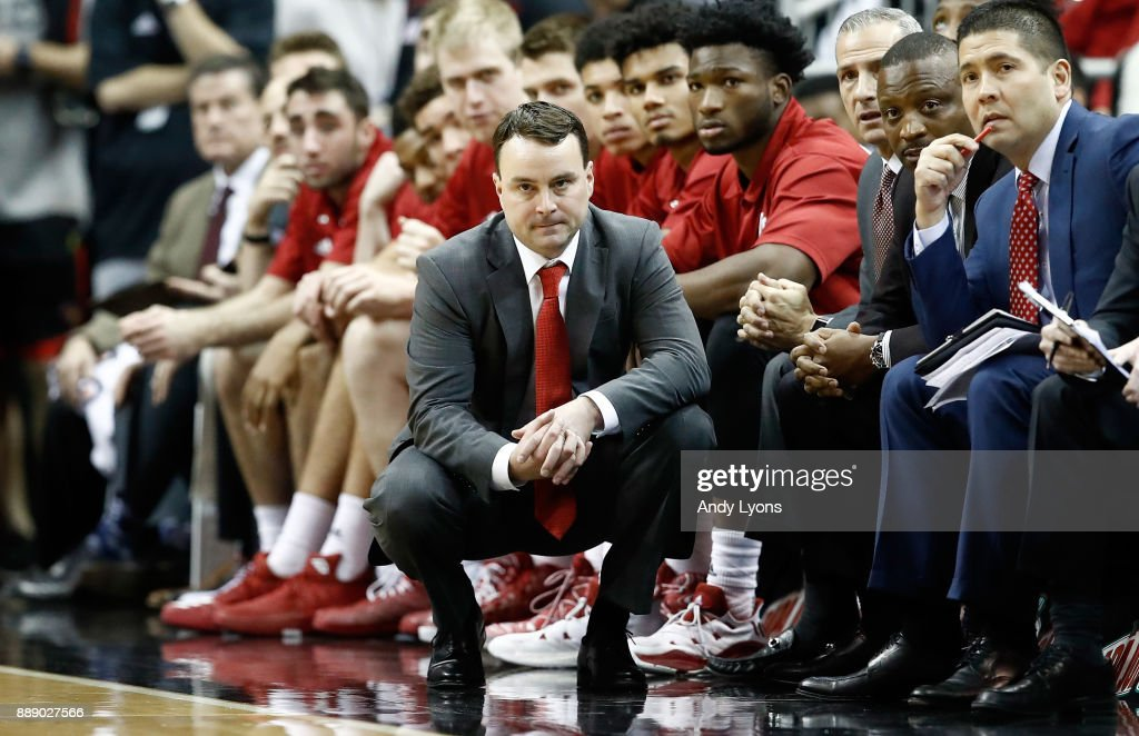Archie Miller the head coach of the Indiana Hoosiers watches the action in the game against the Louisville Cardinals at KFC YUM! Center on December 9, 2017 in Louisville, Kentucky.