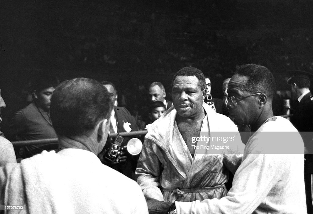 Archie Moore walks in the ring after losing the fight against Cassius Clay at the Sports Arena on November 15,1962 in Los Angeles, California. Cassius Clay won by a TKO 4.
